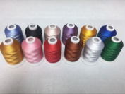 Sinbel Polyester Embroidery Thread 12 Colours 1000Meters/1100Yards Per Spool For Brother Babylock Janome Singer Pfaff Husqvaran Bernina Machines