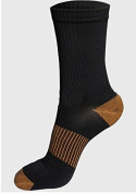 3 Pack Men's Black Copper Dress Compression Pressure Socks One Size Fits All