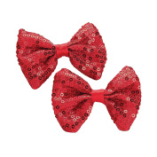 GIZZY® Two Piece Red Sequin Hair Bow Set on Beak Style Hair Clip.
