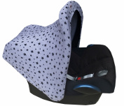 Universal Hood Canopy for Baby Carriers and Group 0 Chairs Black Star by Janabebé®
