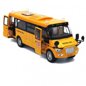 Mallya 23cm Yellow Pull Back School Bus Alloy Diecast Toy Vehicles with Lights Sounds and Openable Doors