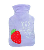 Lovely Medium Hot Water Bottle With Plush Cover, Lightweight Portable, 1 Litre