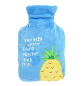 Lovely Medium Capacity Hot Water Bottle With Plush Cover, Portable, 1 Litre Blue