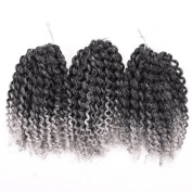 Silike(T1B/Grey) Ombre Marlybob Kinky Curl (3 Bundles/pack) 20cm Synthetic Curly Wave Crochet Braiding Hair