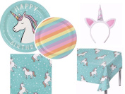 Spritz Unicorn Ultimate Party Bundles Including Plates, Napkins, Tablecover and Headband for 16
