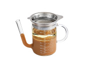 HIC Gravy Strainer and Fat Separator, Heat-Safe Borosilicate Glass with 18/8 Stainless Steel Fine-Mesh Filter and Pierced Strainer, 4-Cup (950ml) Capacity