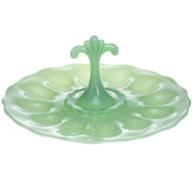 Mosser Glass Decorative Jadeite Opaque Green Deviled Egg Plate - Made In USA