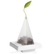 Tea Forte Ceramic TEA TRAY for Presenting and Resting Signature Pyramid Tea Infusers, Two Per Box, Orchid White