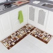Carvapet 2 Piece Non-Slip Kitchen Mat Rubber Backing Doormat Runner Rug Set, Coffee Design