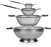 Elite Kitchen Strainer and Colander Set - 4 Piece Stainless Steel Strainers Set Includes Large Colander, Fine Mesh Strainer, Sifter and Sieve - Food Strainers, Spaghetti Strainer, Quinoa Strainer