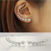 GUAngqi 7 Crystals Ear Cuffs Hoop Climber S925 Sterling Silver Earrings Hypoallergenic Earring