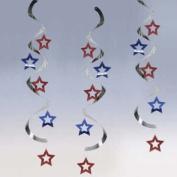 Patriotic Stars Hanging Danglers 60cm 5 Per Pack