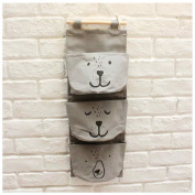 Inwagui Linen/Cotton Fabric Wall Door Closet Hanging Storage Bag Case 3 Pocket Home Organiser Space Saver Bags-Grey