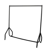 Heavy Duty 1.8m Garment Rail Steel Black Clothes Rail Hanging Carboot Display Rail 1.5m High with free Pair of 15cm Extension poles
