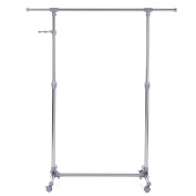 Songmics Adjustable Garment Rack Coat Hanging Rail Clothes Stand with Wheels - Stainless Steel Clad Pipe / Additional Coat Hook, Grey LLR01G