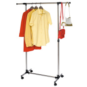 Tatkraft Pegasus Clothes Rail Strong Base Stainless Steel with Side Bars 84-136(L)*45(W)*90-158(H) cm