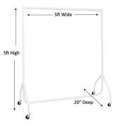 Heavy Duty White Clothes Rail 1.5m Long x 1.5m High Garment Storage Rack 32mm Steel Tube