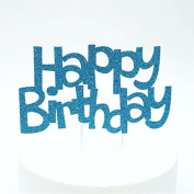 Lissielou Happy Birthday Cake Topper, Fun Style - Light Blue