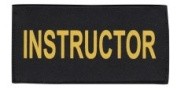 INSTRUCTOR - Printed Gold on Black Tactical Chest Patch 11 x 13cm - 1.3cm - Hook Fastener (Sewn) & Loop - logo t shirt jacket costume uniform patch, badge - Sold by Uniform World