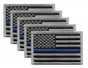 5 Pack - US Flag Thin Blue Line Hook and loop Patch, Grey on Black, for Police and Law Enforcement. Sold by UNIFORM WORLD