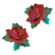 ROSE RED ROSES EMBROIDERED PATCH IRON-ON APPLIQUÉ FASHION SET DECORATIVE PATCHES