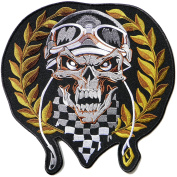 29cm Large Skull Skeleton Helmet Olive Branch Outlaw MC Biker Punk Rock Heavy Metal Jacket T-shirt Patch Iron on Applique Embroidered Jacket T shirt Sign Costume