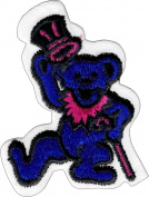 Blue Dancing Bear - with Pink Cane & Tophat - Iron Sew On Patch / Applique