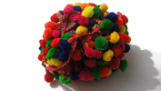 Bright colourful Pom Pom trim handcrafted scarf -Price for 01 Yard-SMP565
