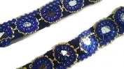 Blue colour Designer Mirror Lace -Price for 01 Yard-IDL313