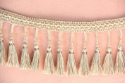 MINO 12101 13.6YD Lace curtain/edge lace curtain accessories/ear/beads tassel / height 11cm Quality and cheap creamy white