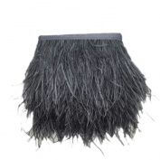 MagiDeal Ostrich Feather Dyed Fringe 1 Yard Trim Sewing Crafts - Deep Grey, One Size