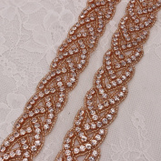 Rose Gold Bridal Gown Sash Rhinestone Applique DIY Wedding Belt by Sewing or Ironing on -1 Piece