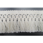 3.8cm Wide Cotton Tassel Fringe In Beige Pack of 10 Yards