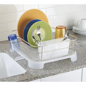 mDesign Dish Drainer with Swivel Spout for Kitchen Countertop - Satin/Frost