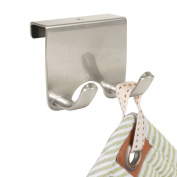 mDesign Over-the-Cabinet Kitchen Storage Double Hook for Dish Towels, Pot Holders - Silver