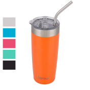 Boroux Climate Series 590ml Insulated Stainless Steel Tumbler Cups with Extra Wide Stainless steel Straw - Sunset Orange