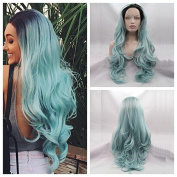 Top Quality New Fashion Heat Resistant Hair Wig With Dark Roots Synthetic Lace Front Wigs Long Wavy Ombre Baby Blue Hair
