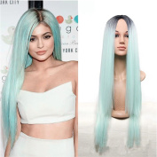Royalvirgin Kylie Jenner Christmas Mint Green Ombre Wig 70cm Long Black Ombre Green Straight Synthetic Wig heat Resistant Fibre Wig