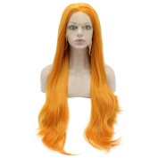 Iwona Extra Long Straight Orange Costume Party Wig Synthetic Hair Fibre Orange Lace Front Wig Cosplay