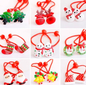 Cuhair(tm) 20pcs new year christmas Children Elastic ribbon bow Hair Bands tie rubber Rope Ponytail Holder Kids fabric flowers Baby Girls toddler teens Hair Accessories Scrunchie