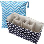KF Baby Nappy Bag Insert Organiser 36cm (Black) + Nappy Wet Dry Bag Value Combo