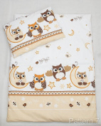 2 Piece Duvet Pillow Set For Crib, Cradle, Pram, Filling Baby Bedding Set - TRAIN ECRU