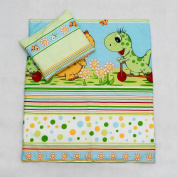 2 Piece Duvet Pillow Set For Crib, Cradle, Pram, Filling Baby Bedding Set - DINO GREEN