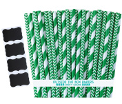 Outside the Box Papers Green Stripe and Chevron Paper Straws 20cm 100 Pack Green, White