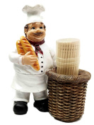 Pastry Head Chef Jean Holding Bread With Faux Wicker Toothpick Holder Figurine