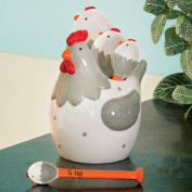 Bits and Pieces - Ceramic Chicken Measuring Spoons - Whimsical, and Practical Chicken Figurine with 4 Measuring Spoons - Adds Quirky Charm to Your Kitchen.