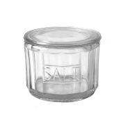 Creative Co-op Round Pressed Glass Salt Cellar, Clear