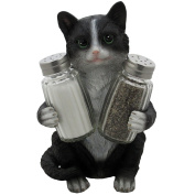 Decorative Black & White Kitty Cat Glass Salt and Pepper Shaker Set with Holder Figurine in Kitten Statues & Sculptures and Pet Kitchen Table Decor Gifts for Cat Lovers
