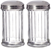 Update International Retro Style Sugar Dispenser/Pourer/Shaker, Glass Jar, Stainless Steel Pour-Flap Lid, 350ml, Set of 2