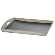 The Lucky Clover Trading Rectangular Tray Basket with Chalkboard Base, Smokey Grey